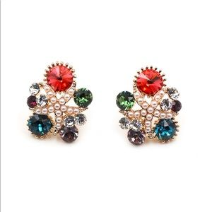 Fashion red starfish crystal earrings
